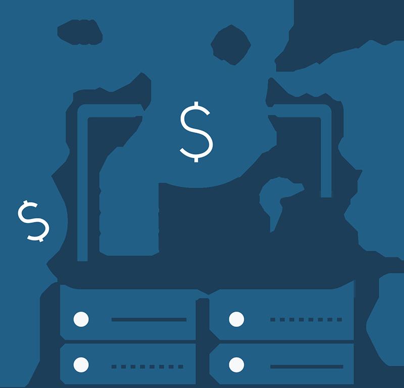 laptop servers money debt made for you illustration