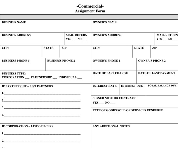 Commercial Assignment Form